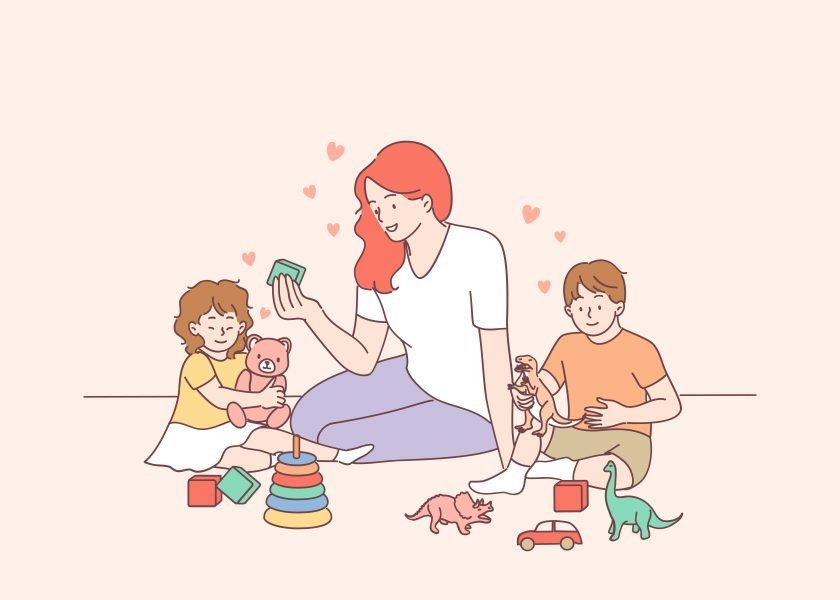 Playing with children, nanny, mother concept